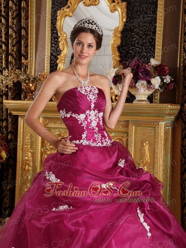 Brand New Fuchsia Quinceanera Dress Strapless Organza and Satin Appliques Ball Gown