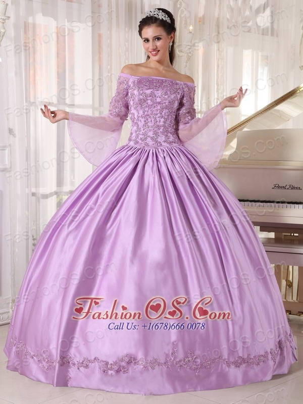 Brand New Lavender Quinceanera Dress Off The Shoulder Taffeta and Organza Appliques Ball Gown
