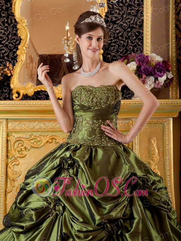Brand New Olive Green Quinceanera Dress StraplessTaffeta Appliques Ball Gown