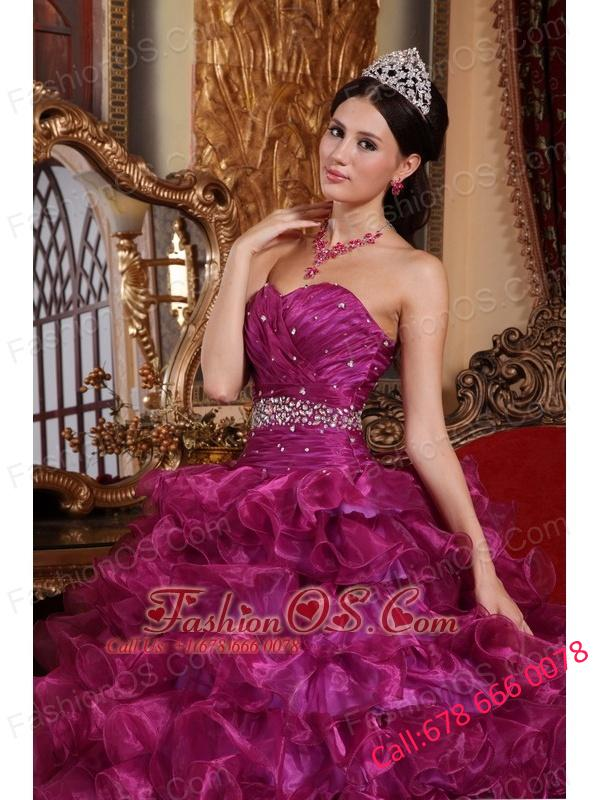 Brand New Dark Purple Quinceanera Dress Sweetheart Organza Beading Ball Gown