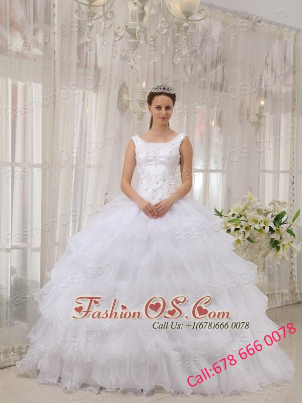 Brand New White Quinceanera Dress Scoop Satin and Organza Appliques Ball Gown