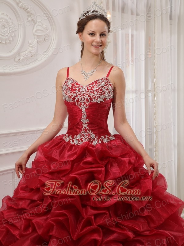 Brand New Wine Red Quinceanera Dress Spaghetti Straps Court Train Organza Beading Ball Gown