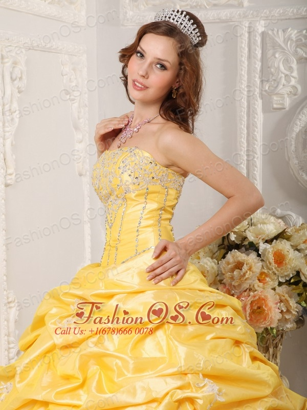 Brand New Yellow Quinceanera Dress Strapless Court Train Taffeta Appliques and Beading Ball Gown