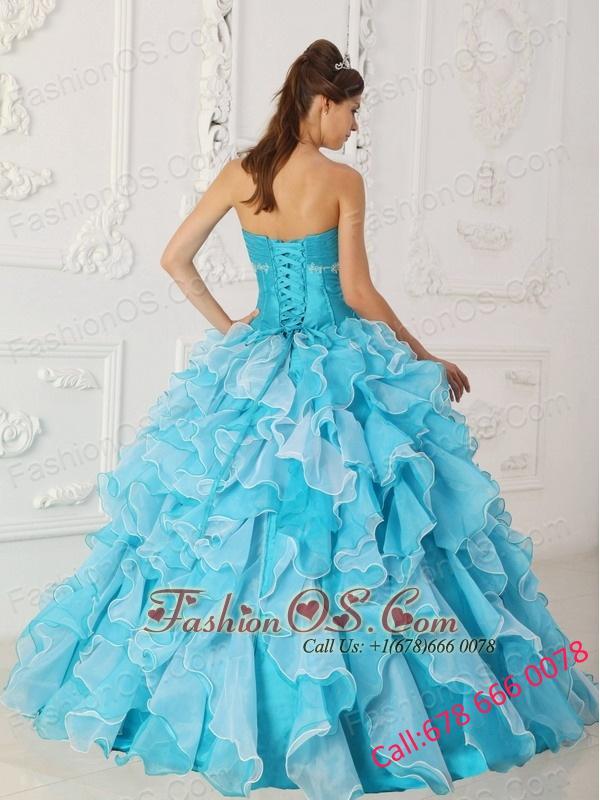 Classical Sky Blue Quinceanera Dress Sweetheart Taffeta and Organza Beading A-Line / Princess