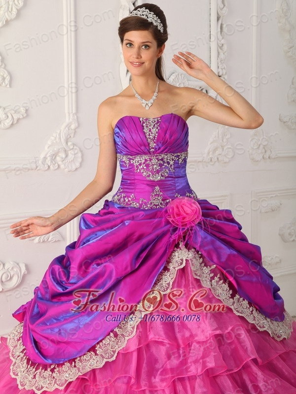 Classical Hot Pink Quinceanera Dress Strapless Organza and Taffeta Lace and Appliques Ball Gown