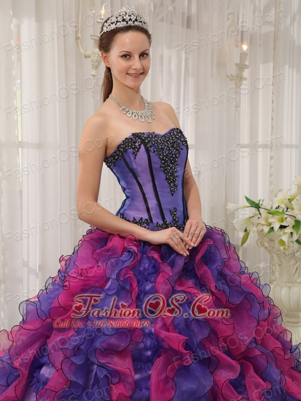 Classical Multi-colored Quinceanera Dress Sweetheart Organza Appliques Ball Gown