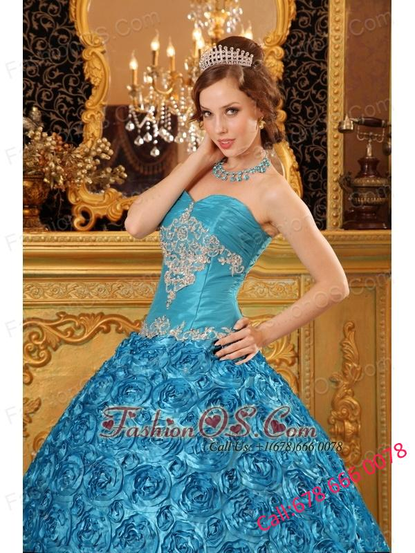 Classical Sky Blue Quinceanera Dress Sweetheart Fabric With Rolling Flowers Appliques Ball Gown
