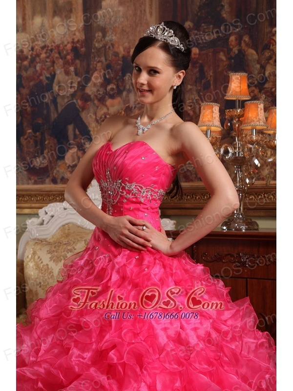 Cute Hot Pink Quinceanera Dress Sweetheart Organza Beading Ball Gown