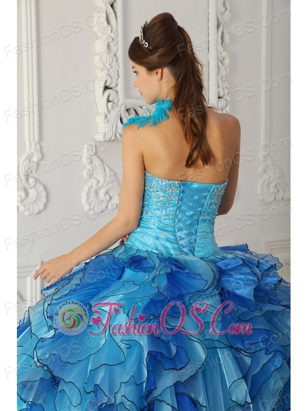 Discount Aqua Blue Quinceanera Dress One Shoulder Satin and Organza Beading Ball Gown