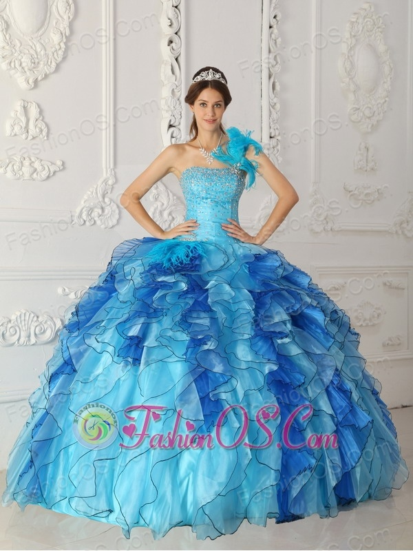 Discount Aqua Blue Quinceanera Dress One Shoulder Satin and Organza Beading Ball Gown