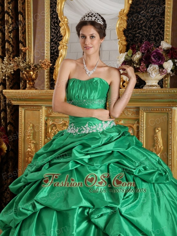 Discount Turquoise Quinceanera Dress Strapless Taffeta Beading Ball Gown