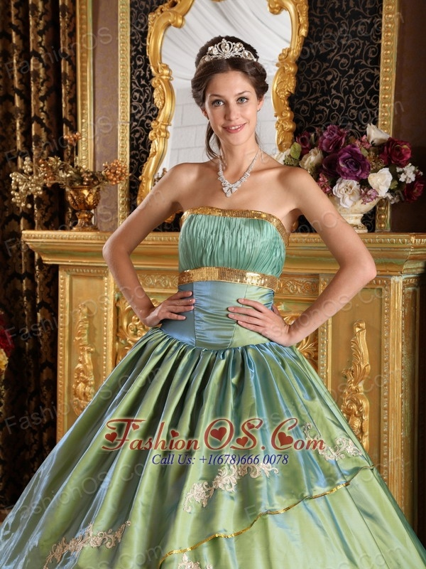 Discount Olive Green Quinceanera Dress Strapless Taffeta and Organza Appliques Ball Gown
