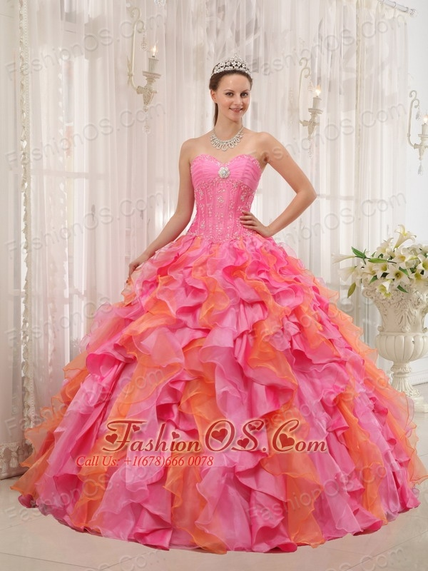 Elegant Multi-color Quinceanera Dress Sweetheart Organza Appliques Ball Gown