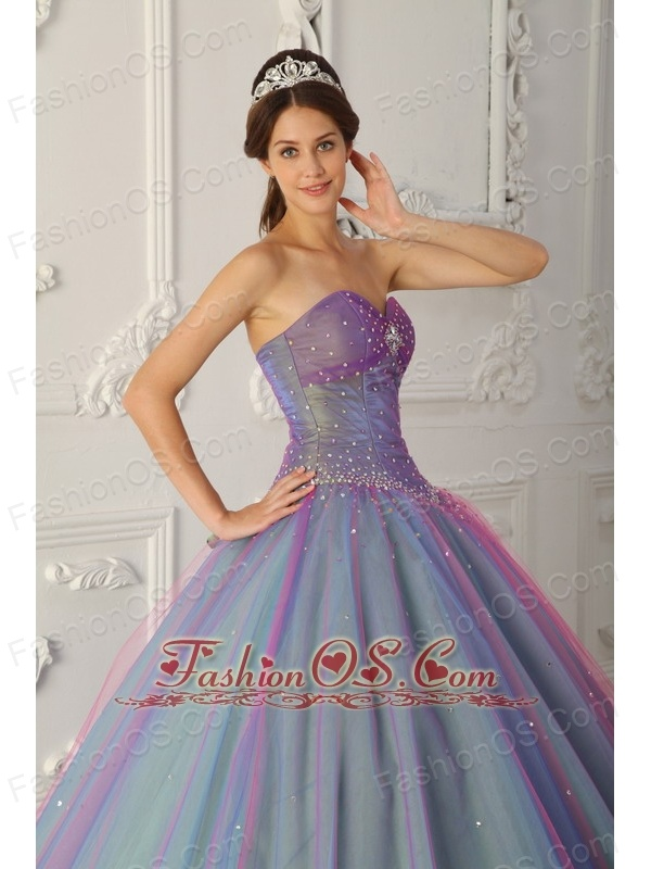 01b5742e9f Elegant Multi-color Quinceanera Dress Sweetheart Tulle Beading Ball Gown