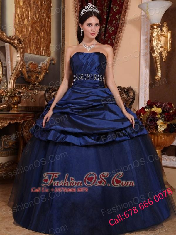 Elegant Navy Blue Quinceanera Dress Strapless Tulle and Taffeta Beading Ball Gown