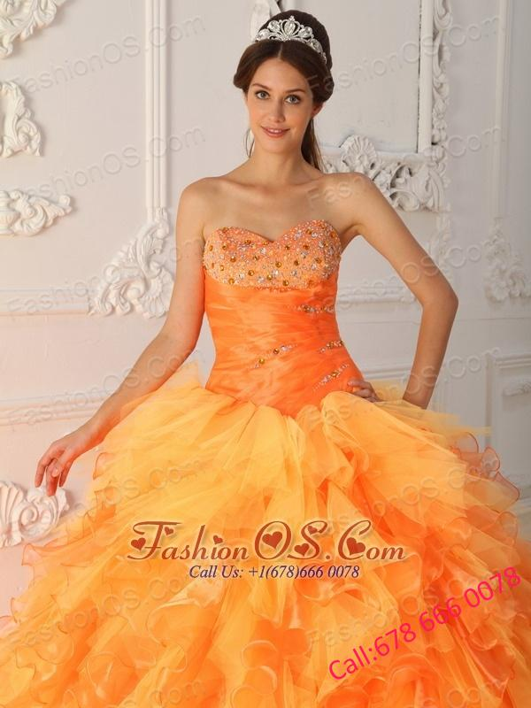 Elegant Orange Red Quinceanera Dress Sweetheart Organza Beading and Ruch Ball Gown
