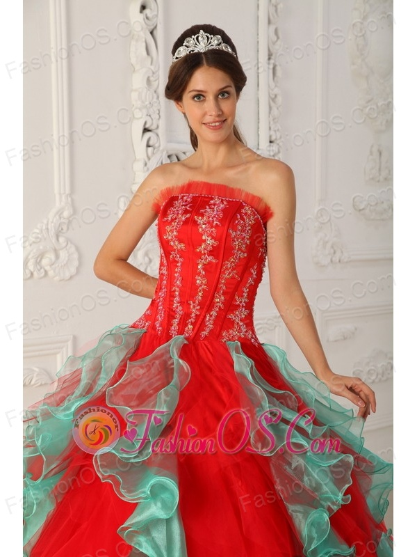 Elegant Red and Green Quinceanera Dress Strapless Appliques and Beading Ball Gown
