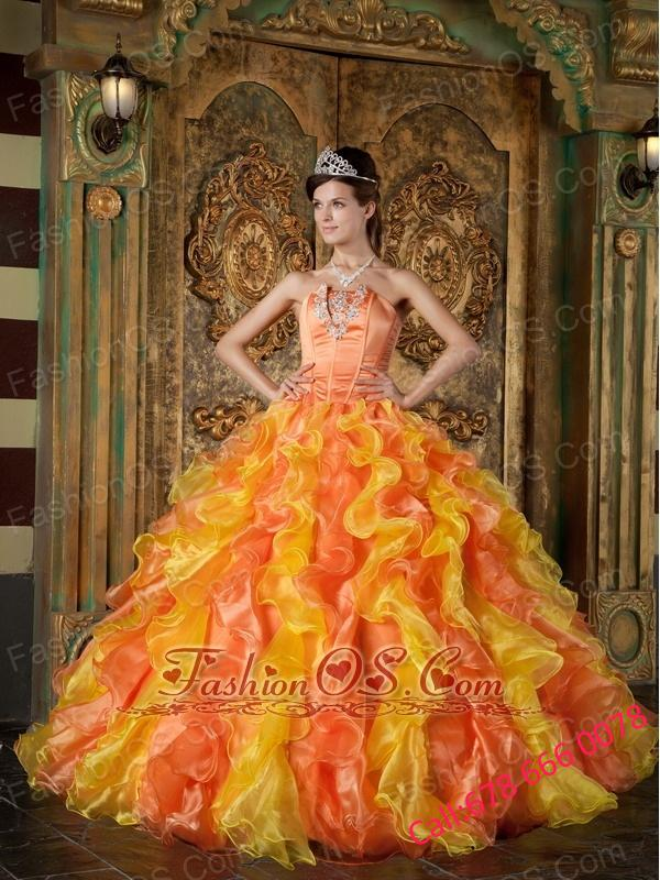 Exclusive Orange Quinceanera Dress Strapless Organza Ruffles Ball Gown