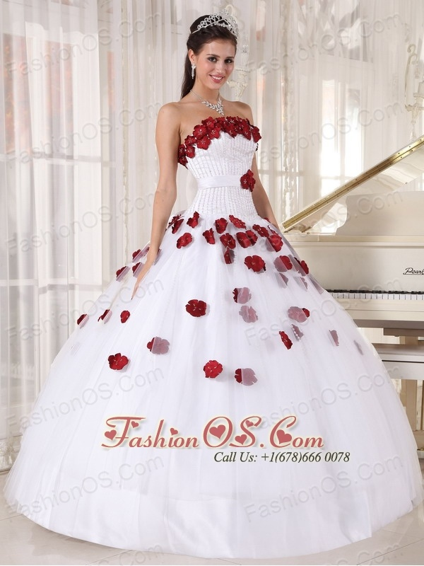 Formal White and Wine Red Quinceanera Dress Strapless Tulle Beading and Hand Made Flowers Ball Gown