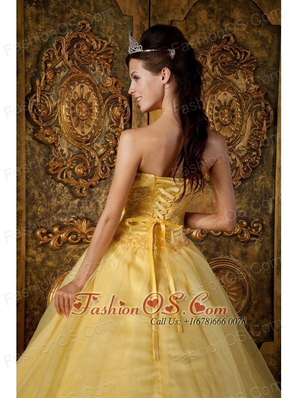 Gorgeous Yellow Quinceanera Dress Strapless Appliques Organza Ball Gown