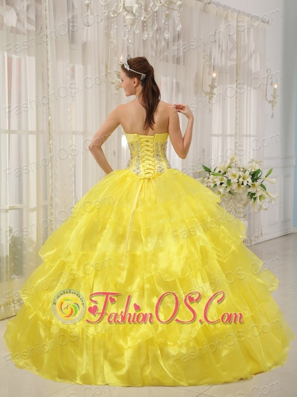 Hot Yellow Quinceanera Dress Strapless Taffeta and Organza Beading Ball Gown