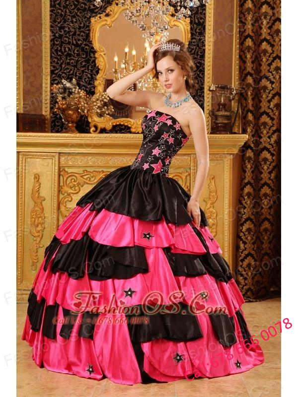 Inexpensive Black and Hot Pink Quinceanera Dress Strapless Taffeta Beading Ball Gown