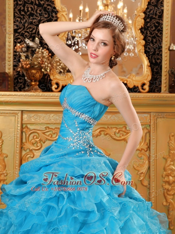 Inexpensive Sky Blue Quinceanera Dress Organza Beading And Ruffles Ball Gown