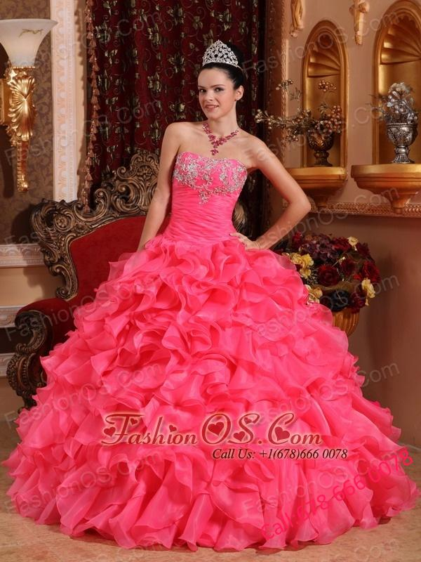 Informal  Hot Pink Quinceanera Dress Strapless Organza Beading and Appliques Ball Gown