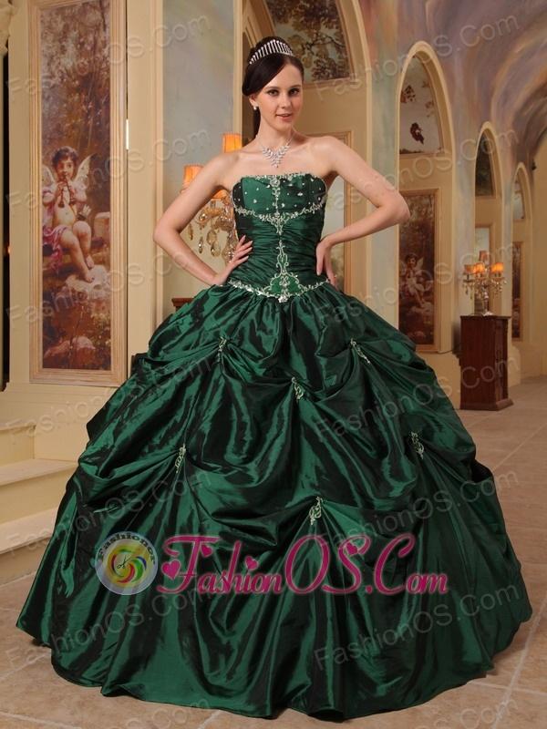 Latest Hunter Green Quinceanera Dress Strapless Beading Taffeta Ball Gown
