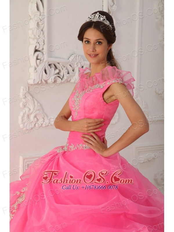 Latest Rose Pink Quinceanera Dress V-neck Taffeta and Organza Appliques With Beading Ball Gown