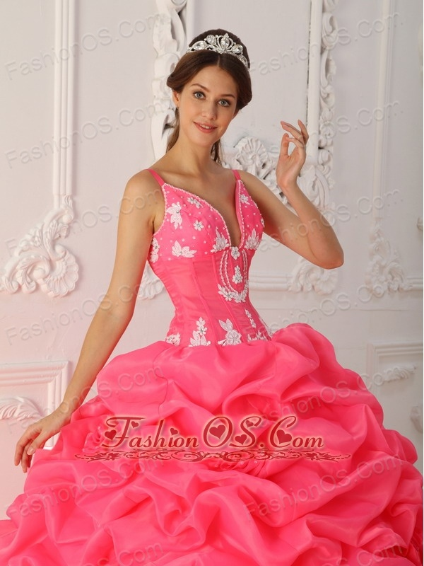 Lovely Watermelon Quinceanera Dress Straps Satin and Organza Appliques Ball Gown