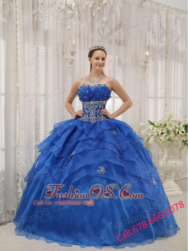 Luxurious Royal Blue Quinceanera Dress Strapless Organza Beading Ball Gown