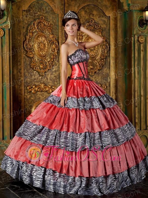 Luxurious Quinceanera Dress Sweetheart Zebra Ruffles Ball Gown