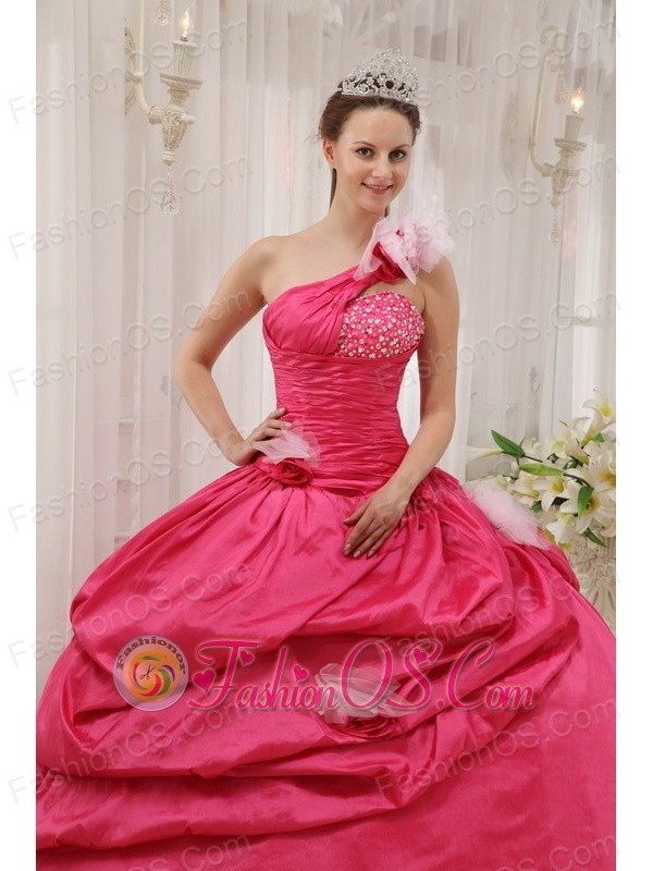 f2dcbb71ec8 Modern Coral Red Quinceanera Dress One Shoulder Taffeta Beading Pick-ups  Ball Gown