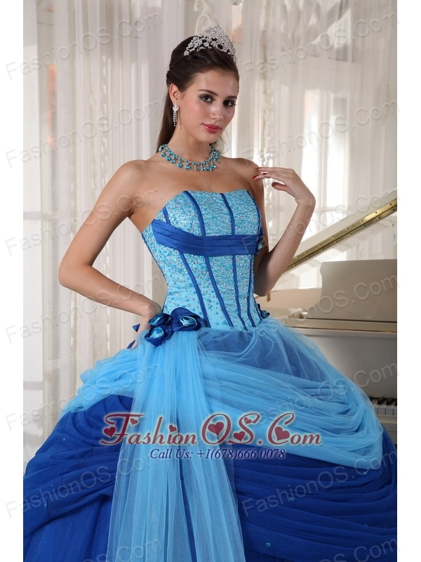 08b24beed51 Modest Blue Quinceanera Dress Strapless Tulle Beading Ball Gown