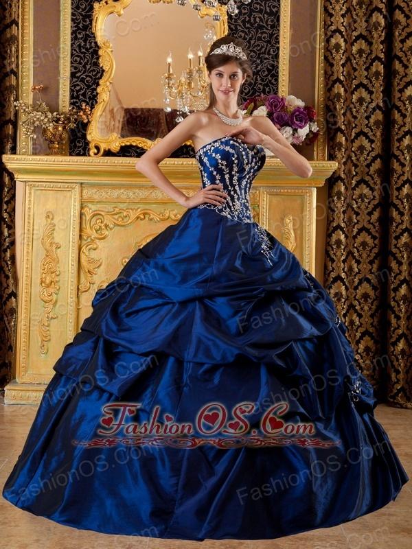Modest Navy Blue Quinceanera Dress Sweetheart Taffeta Appliques Ball Gown