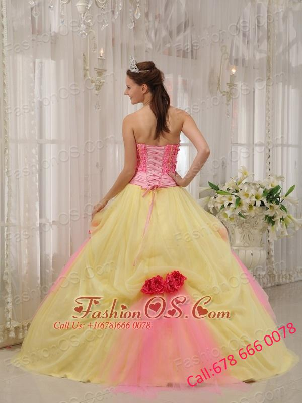 Modest Pink and Yellow Quinceanera Dress Strapless Taffeta and Tulle Hand Made Flowers Ball Gown