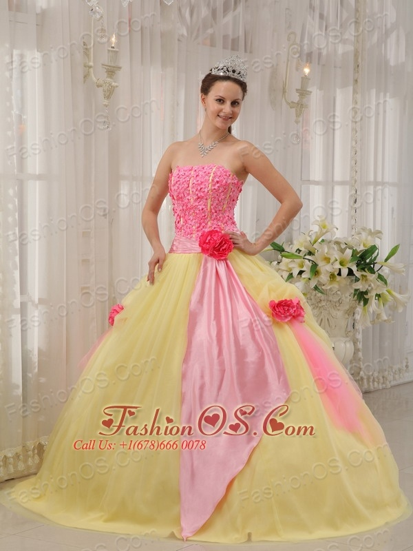 Modest Pink and Yellow Quinceanera Dress Strapless Taffeta and ...