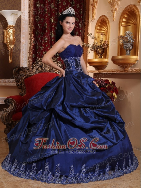 New Royal Blue Quinceanera Dress Sweetheart Taffeta Appliques Ball Gown