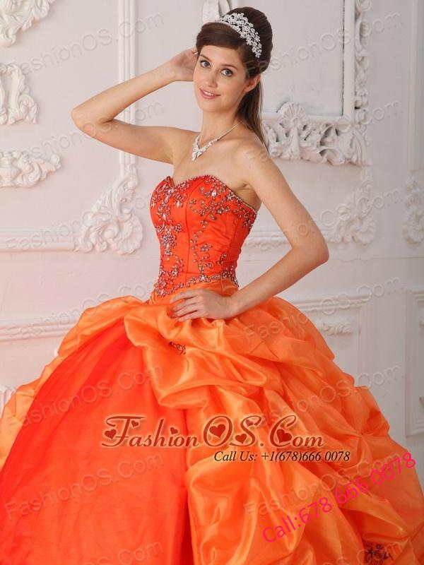 New Orange Red Quinceanera Dress Sweetheart Organza Beading and Appliques Ball Gown