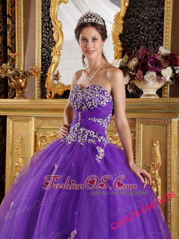 New Purple Quinceanera Dress Sweetheart  Appliques Tulle Ball Gown