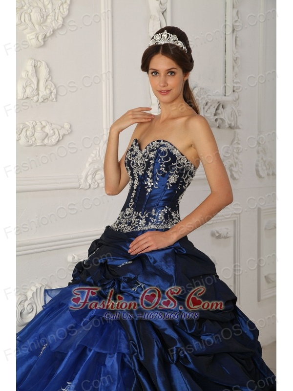 Perfect Royal Blue Quinceanera Dress Sweetheart Chapel Train Taffeta and Organza Appliques Ball Gown