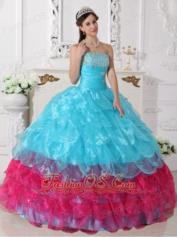 Popular Aqua Blue and Hot Pink Quinceanera Dress Strapless Organza Appliques Ball Gown