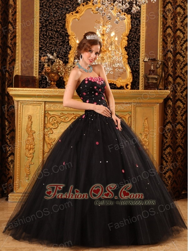 Popular Black Quinceanera Dress Strapless Tulle Appliques Ball ...