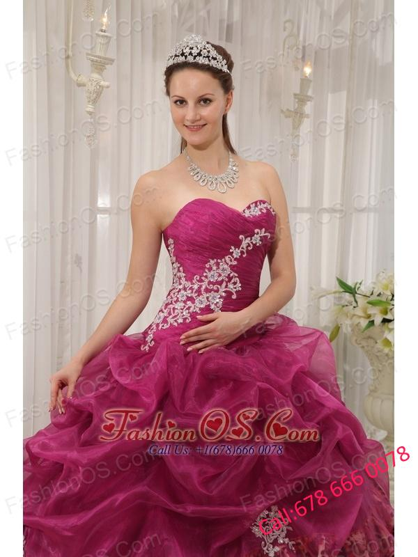 Popular Burgundy Quinceanera Dress Sweetheart Organza and Zebra or Leopard Appliques Ball Gown
