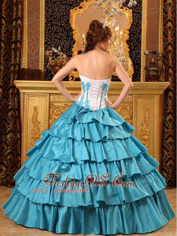 Popular Teal Quinceanera Dress Sweetheart  Ruffles And Embroidery Taffeta Ball Gown