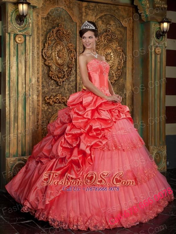 Popular Watermelon Quinceanera Dress Sweetheart Taffeta and Tulle Lace Appliques Ball Gown