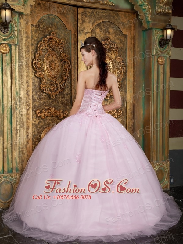 Pretty Baby Pink Quinceanera Dress Sweetheart Tulle Appliques Ball Gown