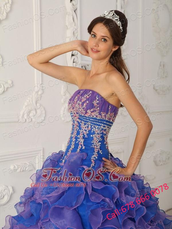 Pretty Royal Blue and Purple Quinceanera Dress Strapless Organza Beading and Appliques Ball Gown