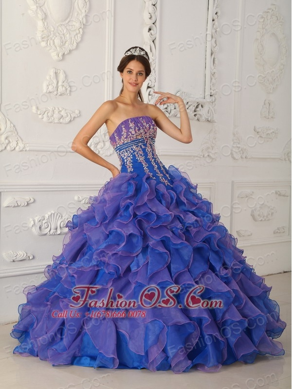 pretty royal blue and purple quinceanera dress strapless